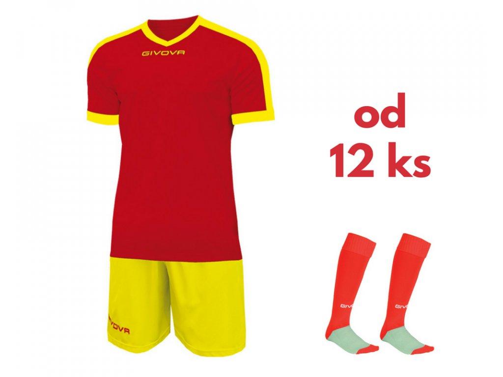 Futbalová sada Givova revolution pre celé mužstvo, od 12 ks, červená / žltá