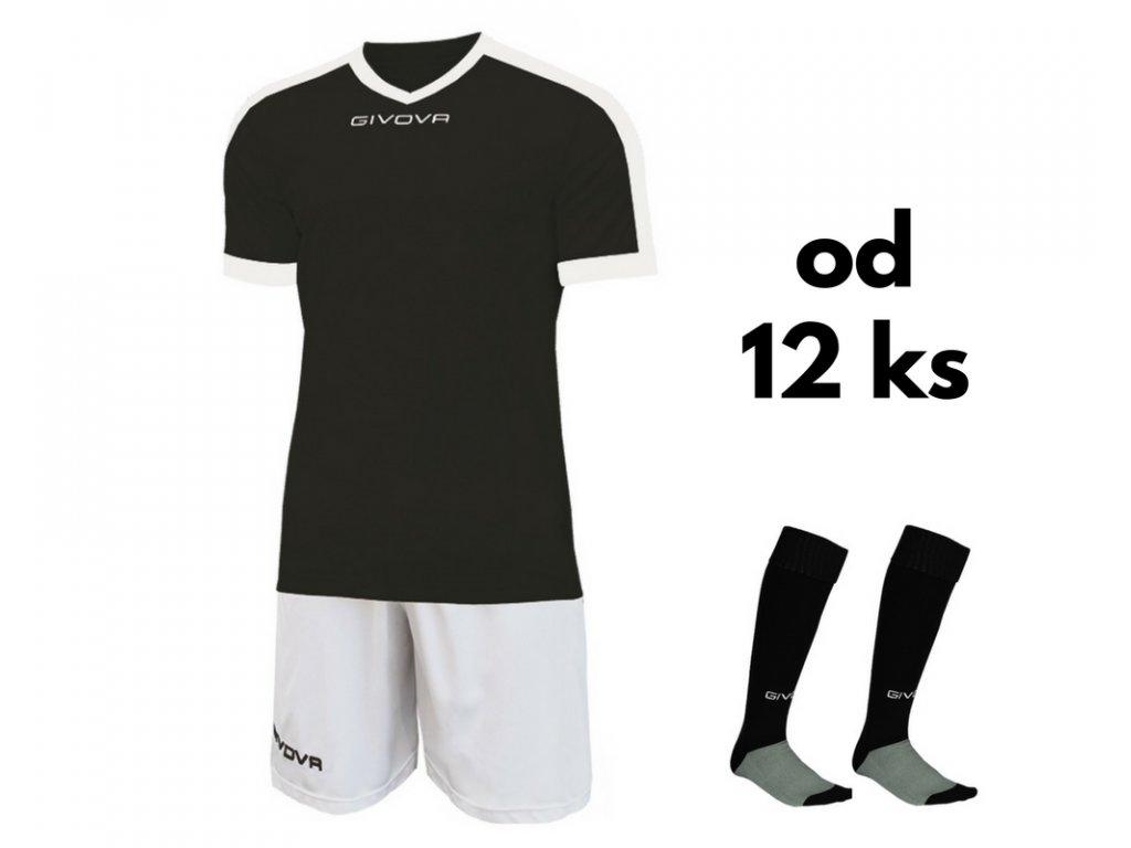 Futbalová sada Givova revolution pre celé mužstvo, od 12 ks, čierna / biela