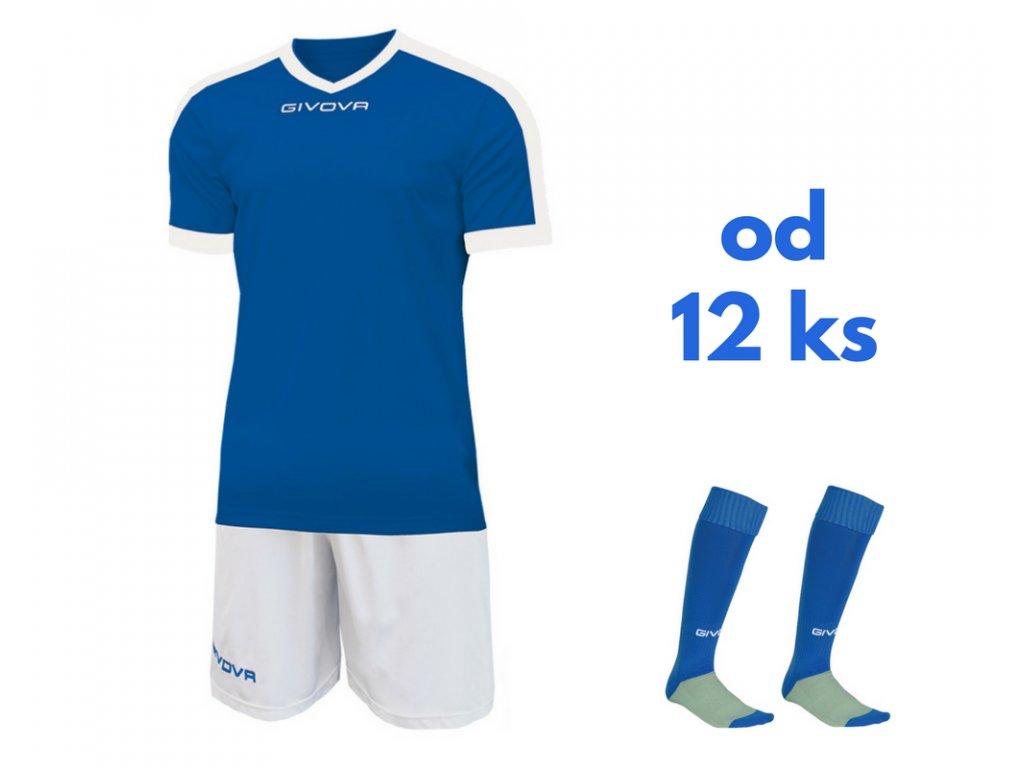 Futbalová sada Givova revolution pre celé mužstvo, od 12 ks, kráľovsky modrá / biela