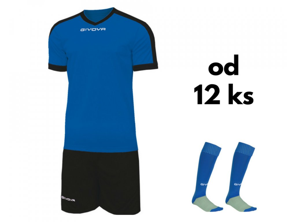 Futbalová sada Givova revolution pre celé mužstvo, od 12 ks, kráľovsky modrá / čierna