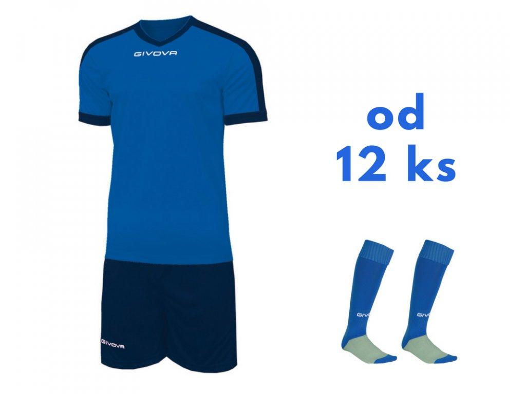Futbalová sada Givova revolution pre celé mužstvo, od 12 ks, kráľovsky modrá / tmavo modrá