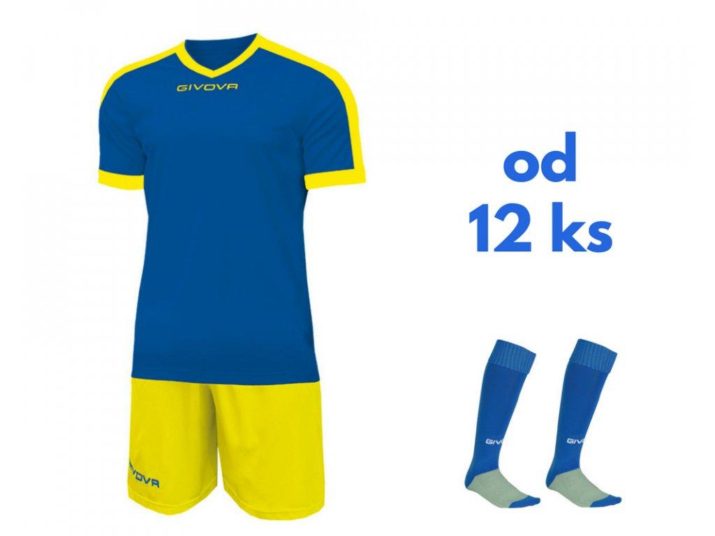 Futbalová sada Givova revolution pre celé mužstvo, od 12 ks, kráľovsky modrá / žltá
