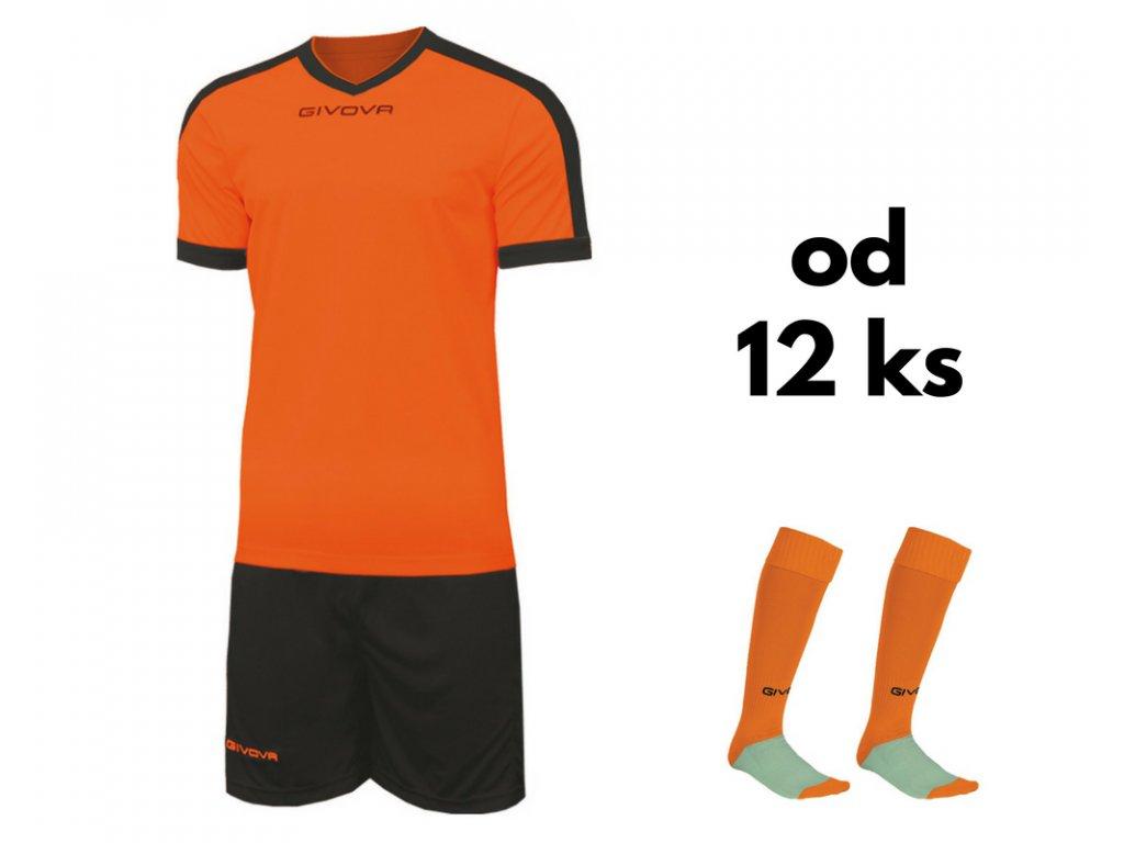 Futbalová sada Givova revolution pre celé mužstvo, od 12 ks, oranžová / čierna