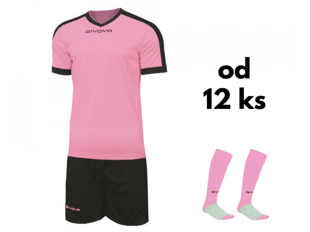 Futbalová sada Givova revolution pre celé mužstvo, od 12 ks, ružová / čierna
