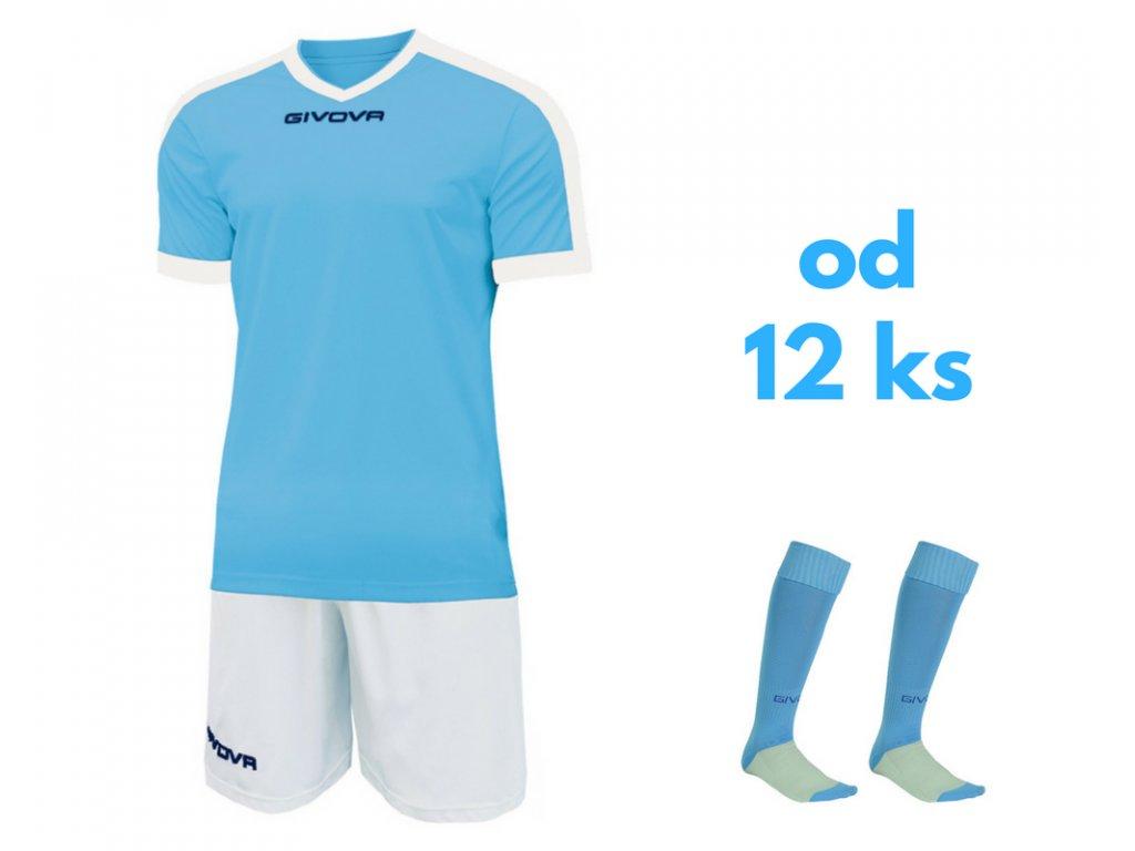 Futbalová sada Givova revolution pre celé mužstvo, od 12 ks, svetlo modrá / biela