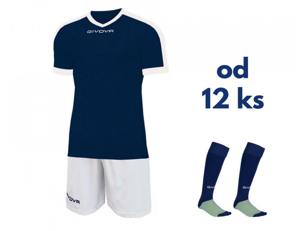 Futbalová sada Givova revolution pre celé mužstvo, od 12 ks, tmavo modrá / biela