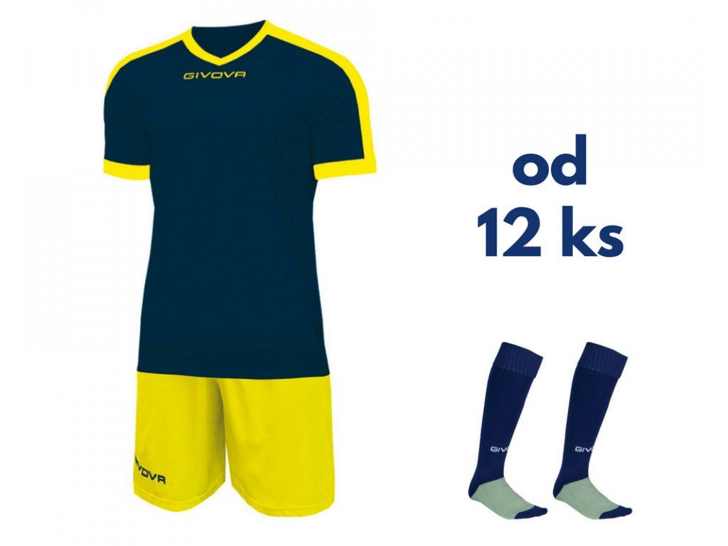Futbalová sada Givova revolution pre celé mužstvo, od 12 ks, tmavo modrá / žltá