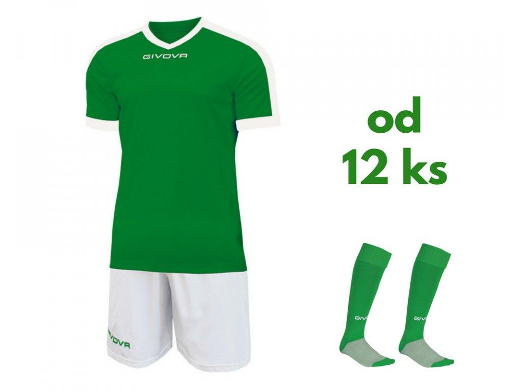 Futbalová sada Givova revolution pre celé mužstvo, od 12 ks, zelená / biela