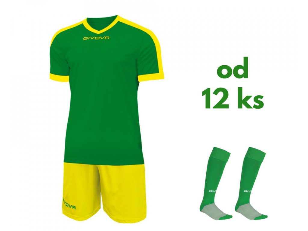 Futbalová sada Givova revolution pre celé mužstvo, od 12 ks, zelená / žltá