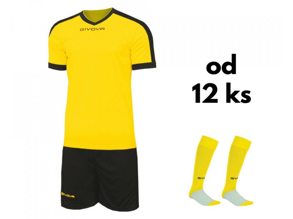 Futbalová sada Givova revolution pre celé mužstvo, od 12 ks, žltá / čierna