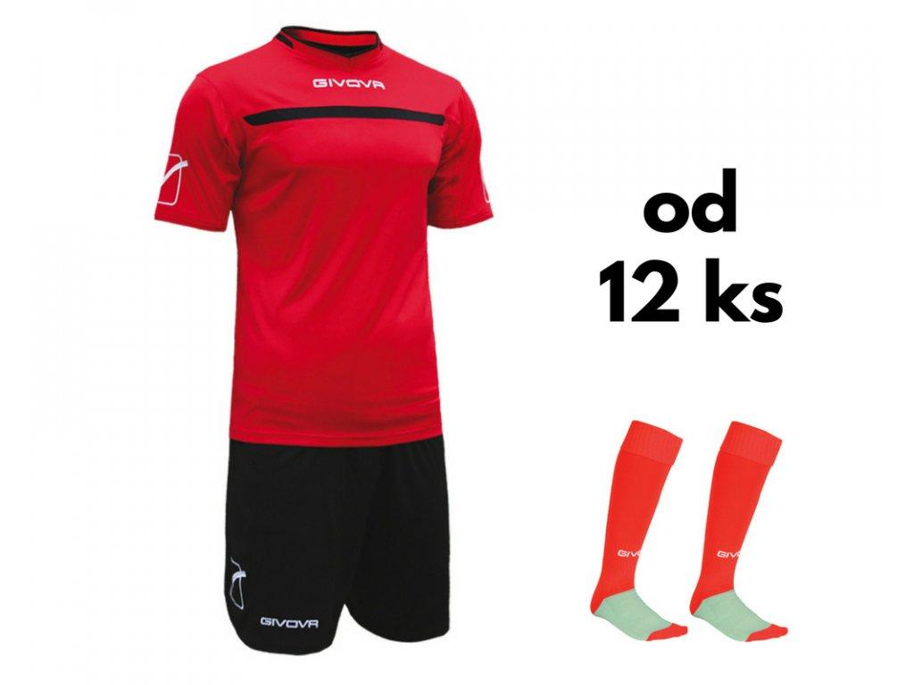 Futbalová sada Givova One pre celé mužstvo, od 12 ks, červená / čierna