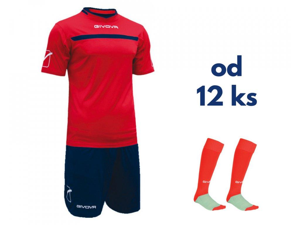 Futbalová sada Givova One pre celé mužstvo, od 12 ks, červená / tmavo modrá