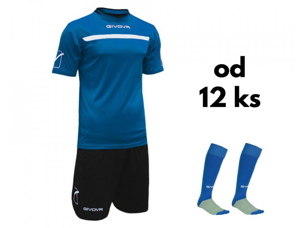 Futbalová sada Givova One pre celé mužstvo, od 12 ks, kráľovsky modrá / čierna