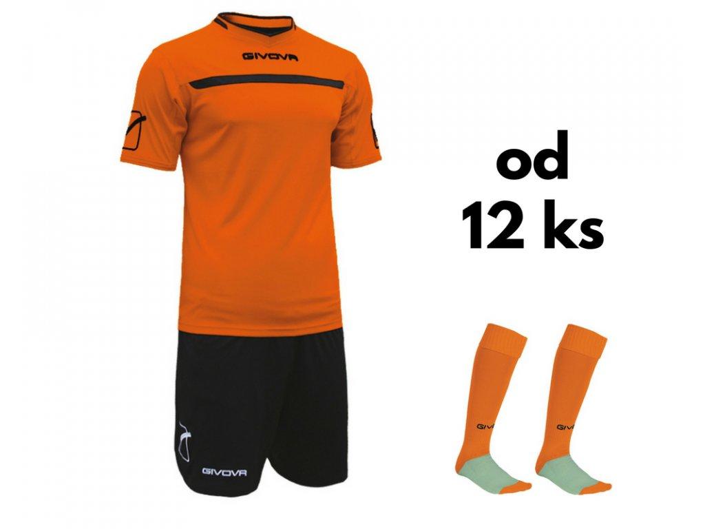 Futbalová sada Givova One pre celé mužstvo, od 12 ks, oranžová / čierna