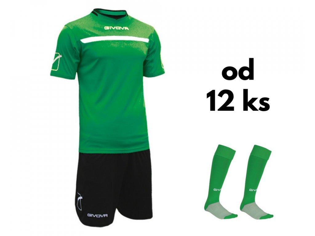 Futbalová sada Givova One pre celé mužstvo, od 12 ks, zelená / čierna