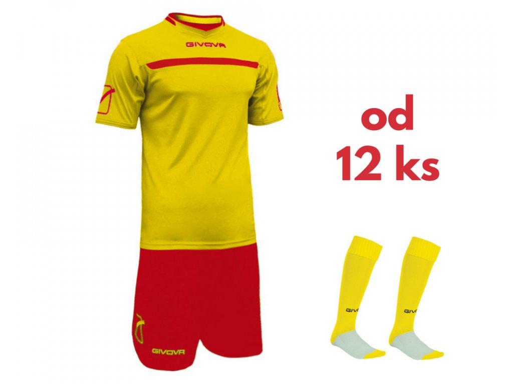 Futbalová sada Givova One pre celé mužstvo, od 12 ks, žltá / červená