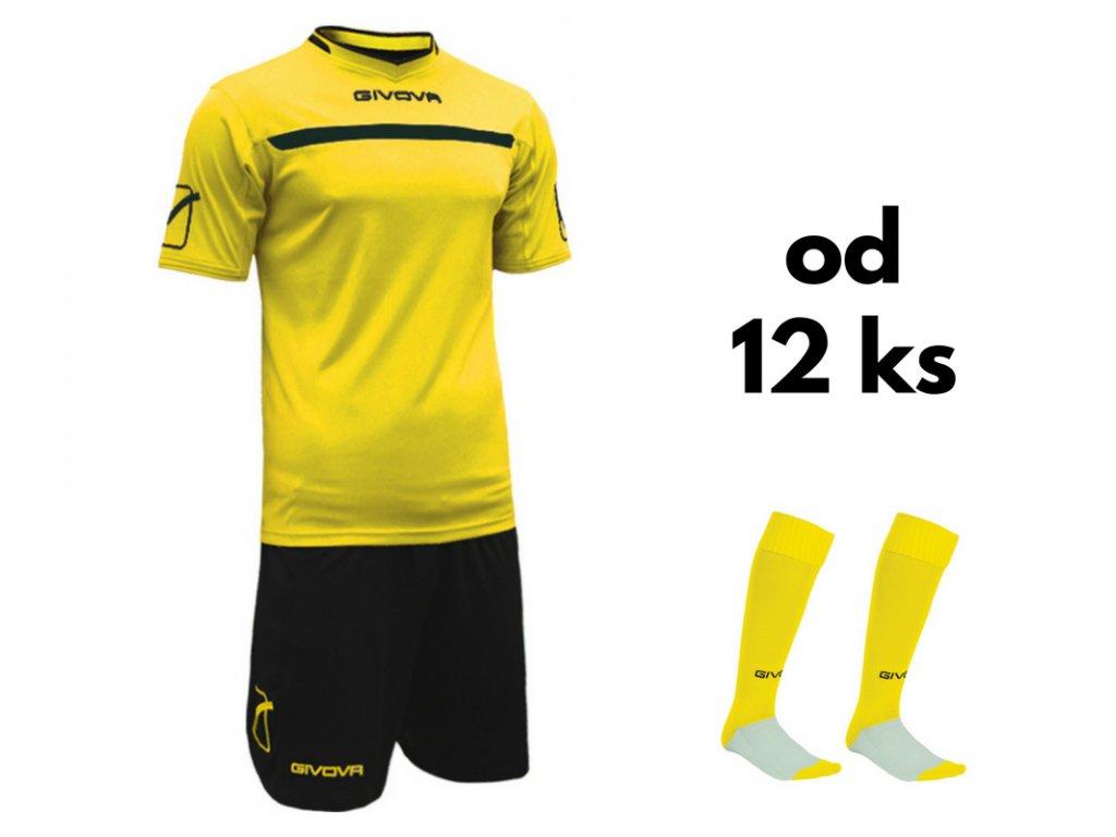 Futbalová sada Givova One pre celé mužstvo, od 12 ks, žltá / čierna