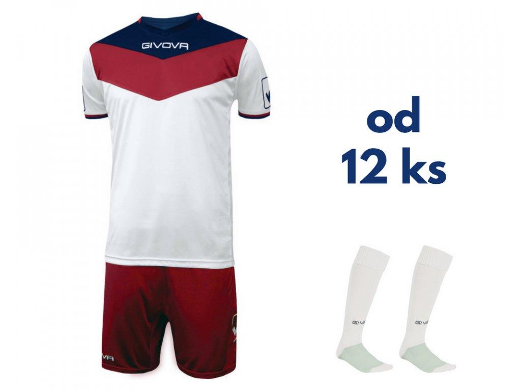 Futbalová sada Givova Campo pre celé mužstvo, od 12 ks, červená / biela