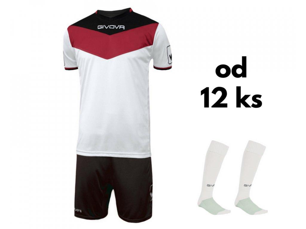 Futbalová sada Givova Campo pre celé mužstvo, od 12 ks, červená / čierna