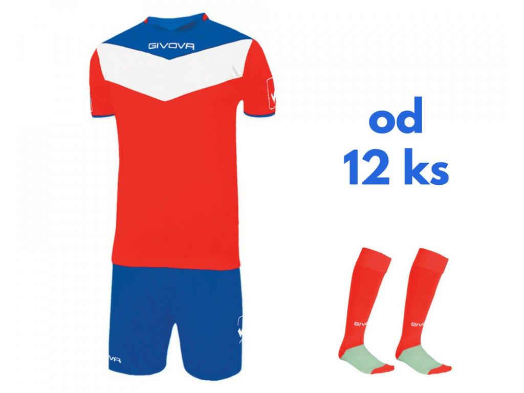 Futbalová sada Givova Campo pre celé mužstvo, od 12 ks, červená / kráľovsky modrá