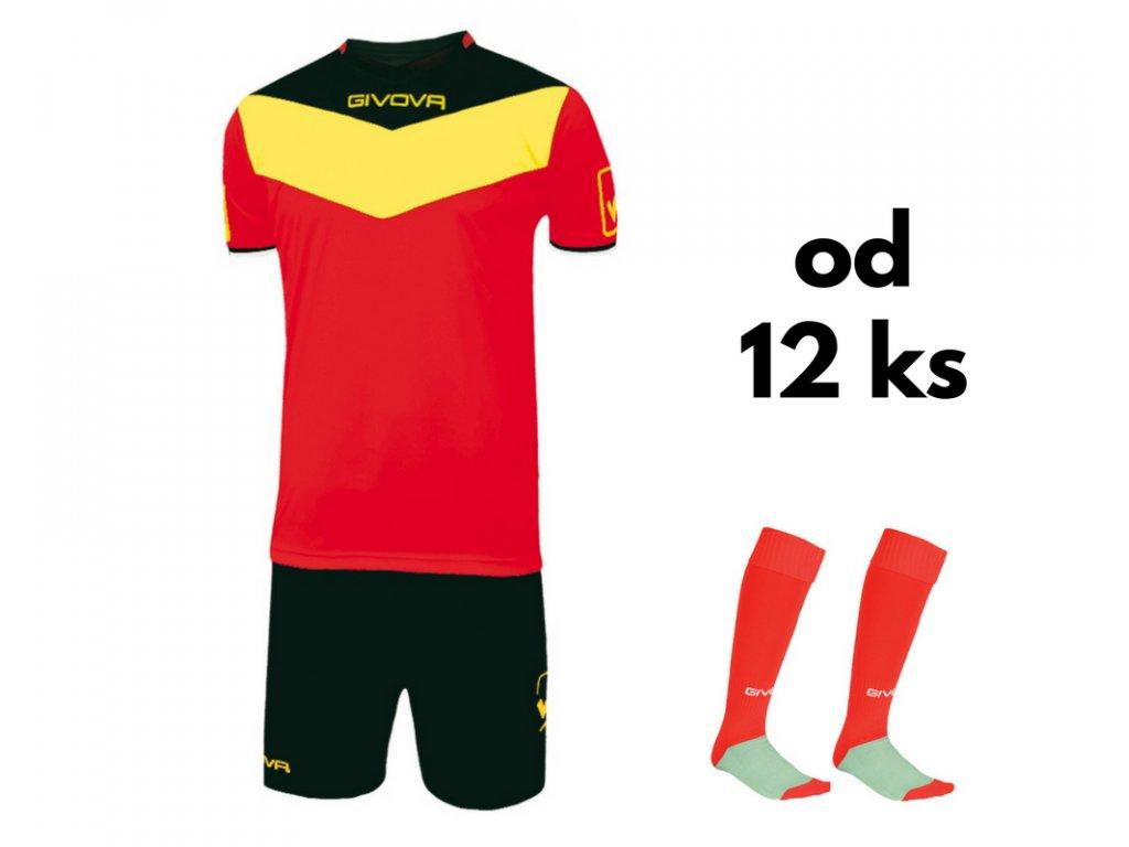 Futbalová sada Givova Campo pre celé mužstvo, od 12 ks, červená / žltá