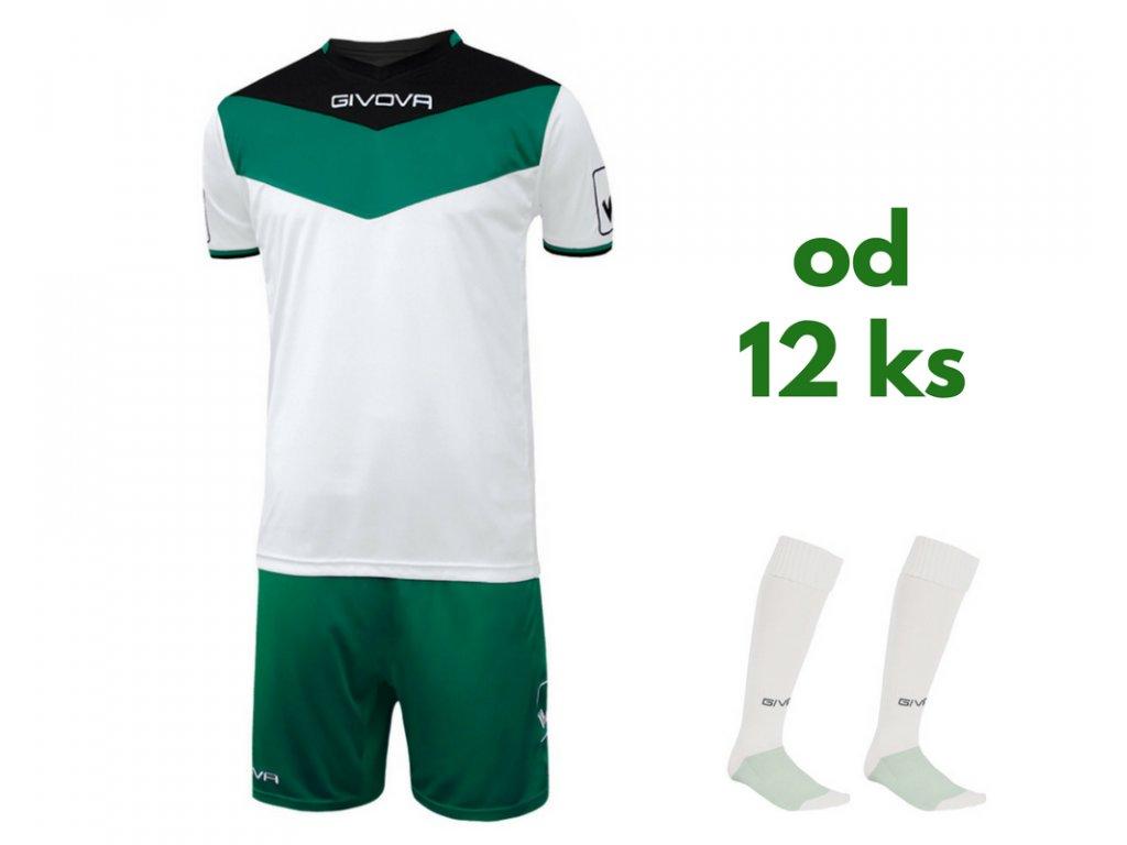 Futbalová sada Givova Campo pre celé mužstvo, od 12 ks, čierna / zelená