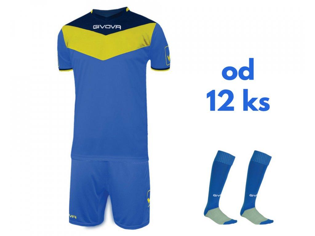 Futbalová sada Givova Campo pre celé mužstvo, od 12 ks, kráľovsky modrá / žltá