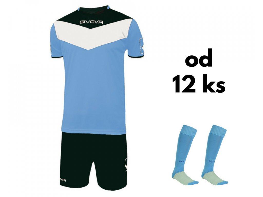 Futbalová sada Givova Campo pre celé mužstvo, od 12 ks, svetlo modrá / čierna