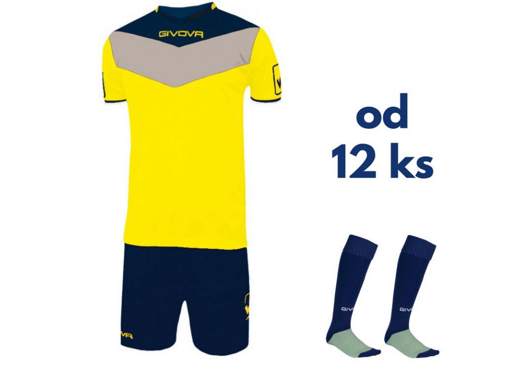 Futbalová sada Givova Campo pre celé mužstvo, od 12 ks, žltá / tmavo modrá