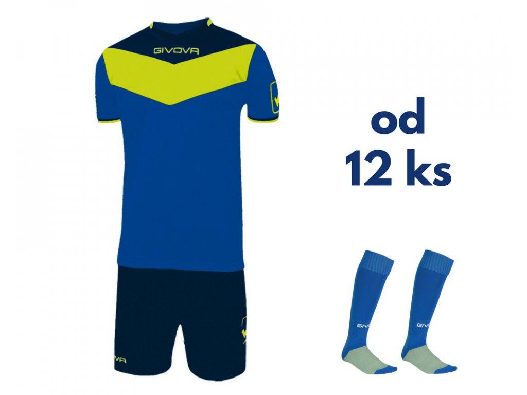 Futbalová sada Givova Campo fluo pre celé mužstvo, od 12 ks, kráľovsky modrá / žltá neónová