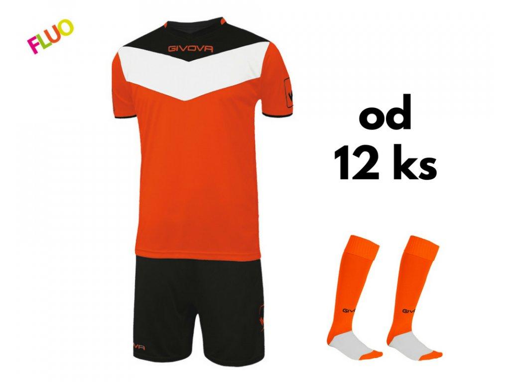 Futbalová sada Givova Campo fluo pre celé mužstvo, od 12 ks, oranžová neónová / čierna