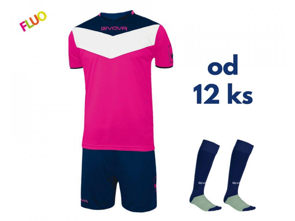 Futbalová sada Givova Campo fluo pre celé mužstvo, od 12 ks, ružová neónová / tmavo modrá