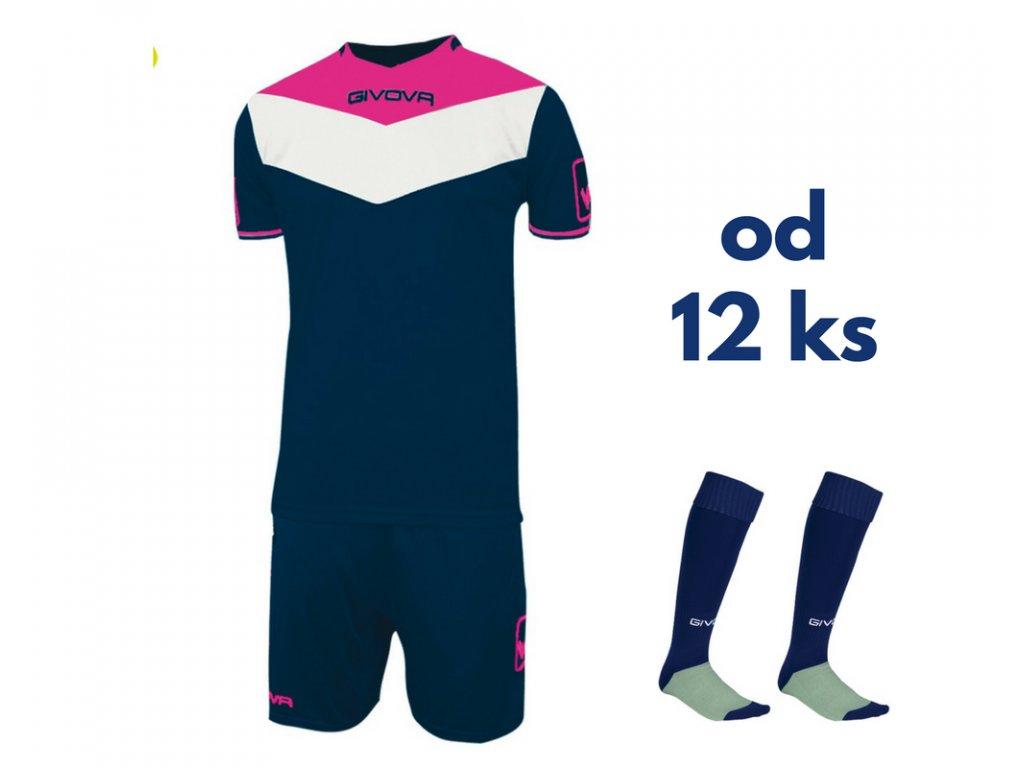 Futbalová sada Givova Campo fluo pre celé mužstvo, od 12 ks, tmavo modrá / ružová neónová