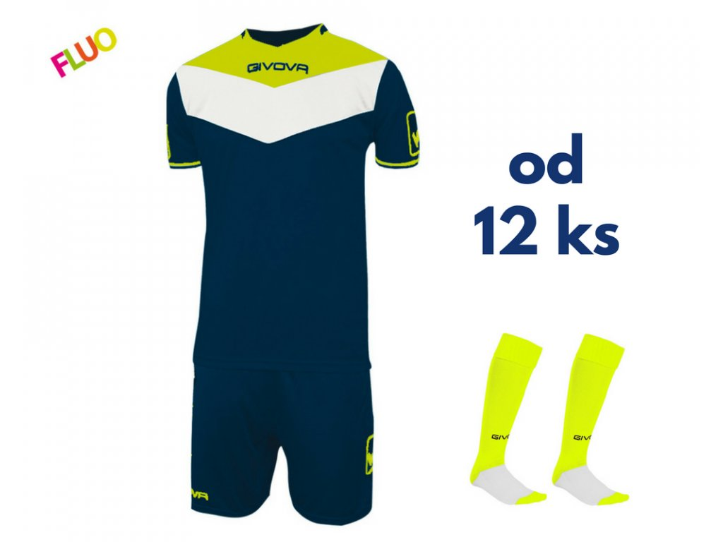 Futbalová sada Givova Campo fluo pre celé mužstvo, od 12 ks, tmavo modrá / žltá neónová
