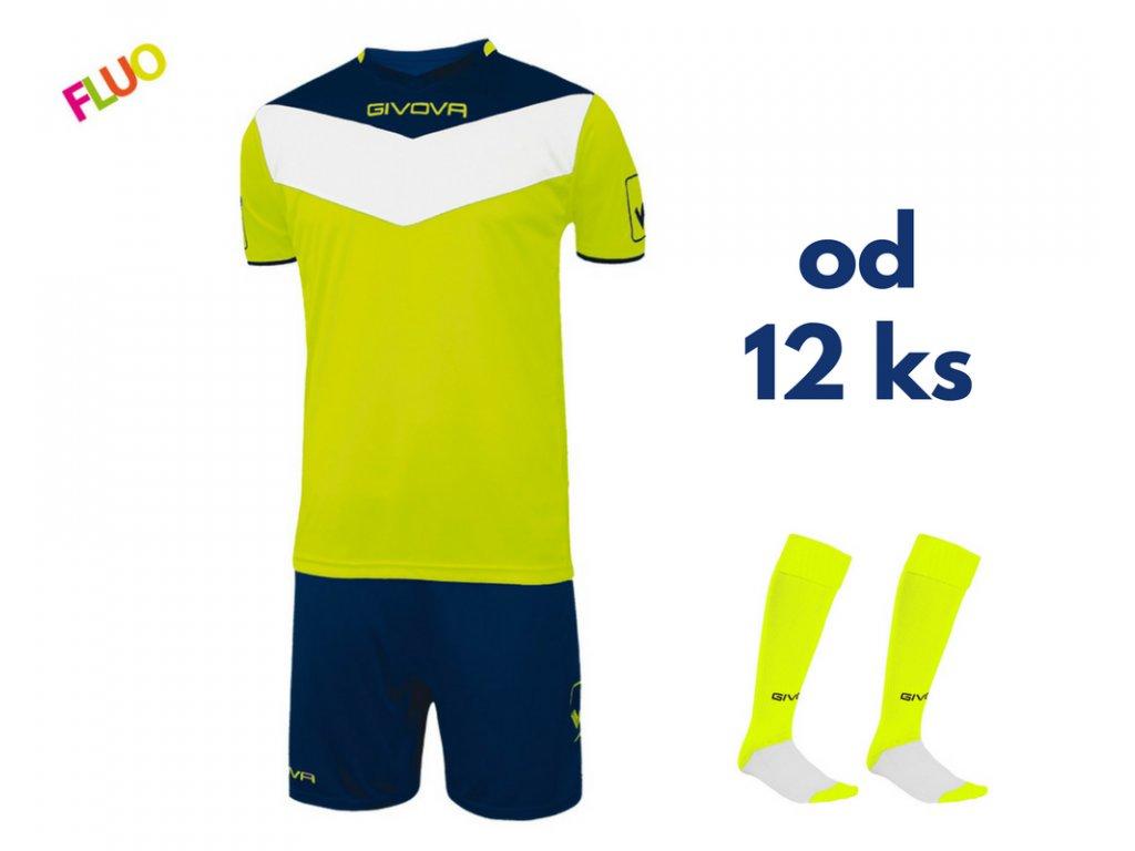 Futbalová sada Givova Campo fluo pre celé mužstvo, od 12 ks, žltá neónová / tmavo modrá
