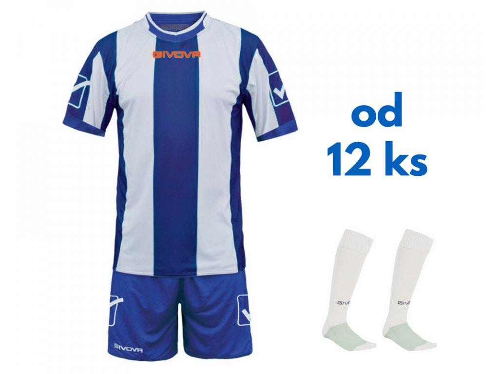 Futbalová sada Givova Catalano pre celé mužstvo, od 12 ks, kráľovsky modrá / biela