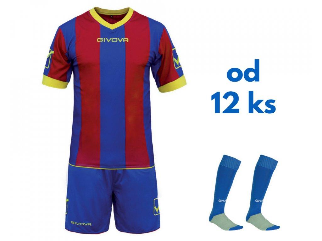 Futbalová sada Givova Catalano pre celé mužstvo, od 12 ks, kráľovsky modrá / bordová