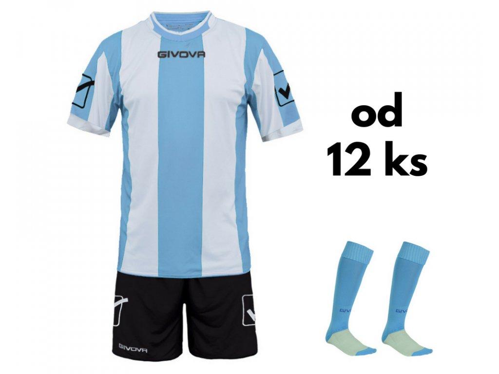 Futbalová sada Givova Catalano pre celé mužstvo, od 12 ks, svetlo modrá / biela