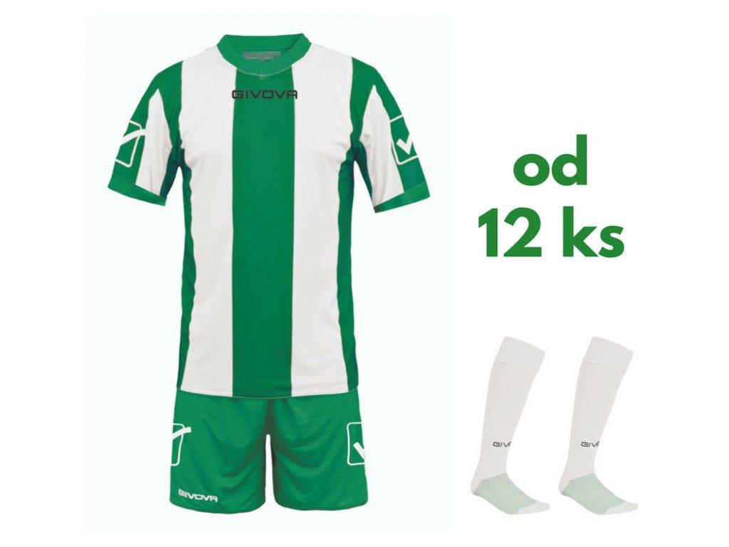 Futbalová sada Givova Catalano pre celé mužstvo, od 12 ks, zelená / biela