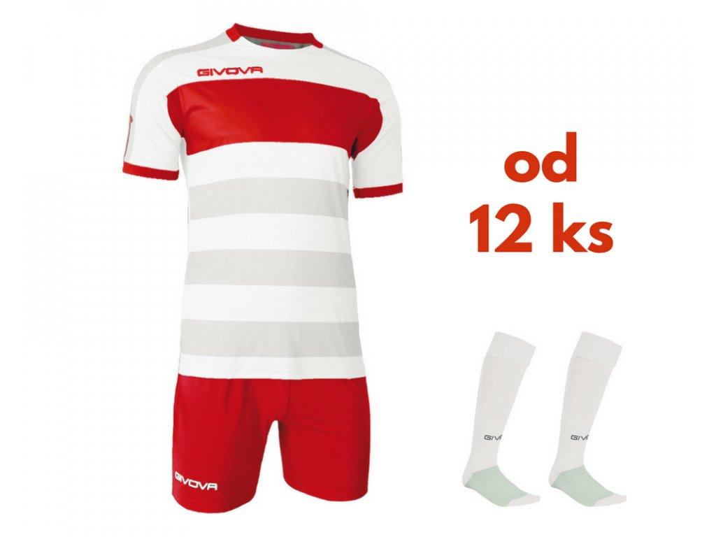Futbalová sada Givova Derby pre celé mužstvo, od 12 ks, biela / červená