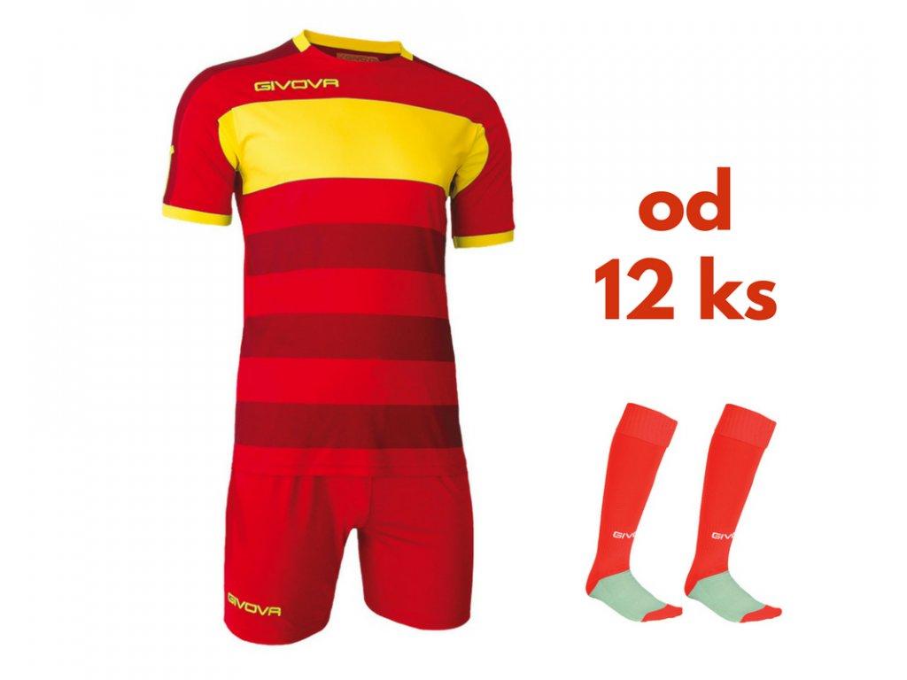 Futbalová sada Givova Derby pre celé mužstvo, od 12 ks, červená / žltá