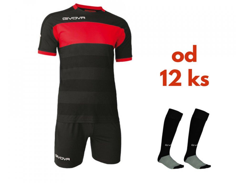 Futbalová sada Givova Derby pre celé mužstvo, od 12 ks, čierna / červená