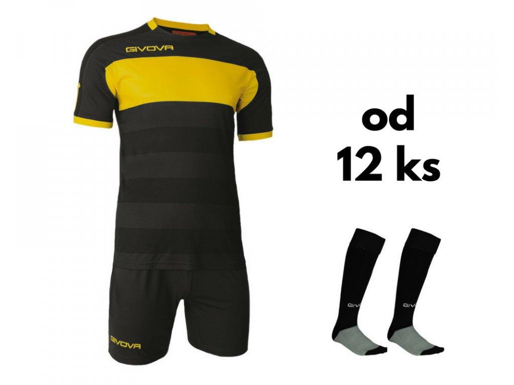 Futbalová sada Givova Derby pre celé mužstvo, od 12 ks, čierna / žltá