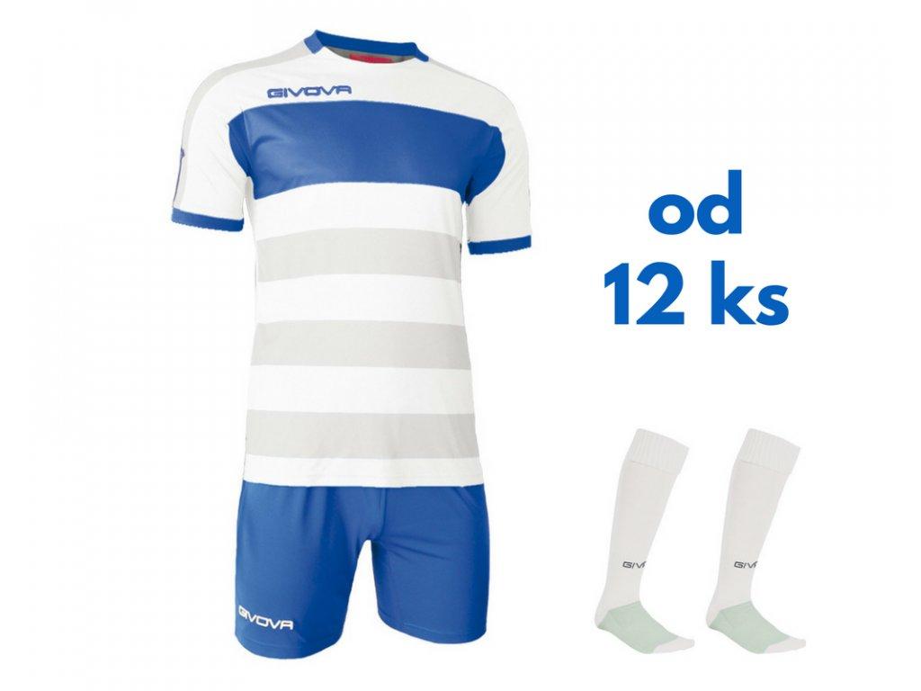 Futbalová sada Givova Derby pre celé mužstvo, od 12 ks, kráľovsky modrá / biela