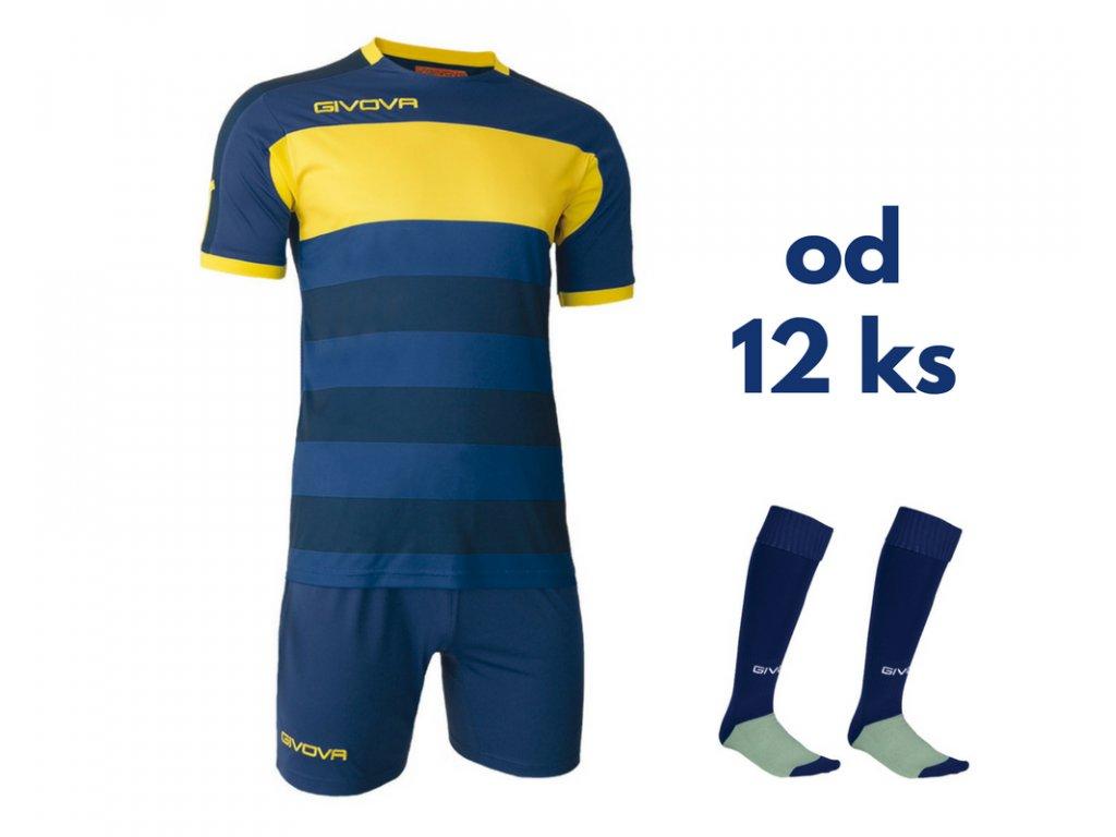Futbalová sada Givova Derby pre celé mužstvo, od 12 ks, tmavo  modrá / žltá