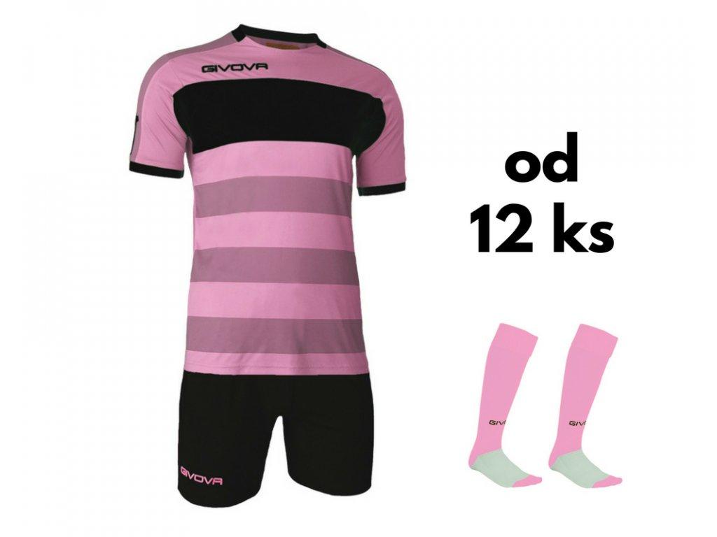 Futbalová sada Givova Derby pre celé mužstvo, od 12 ks, ružová / čierna
