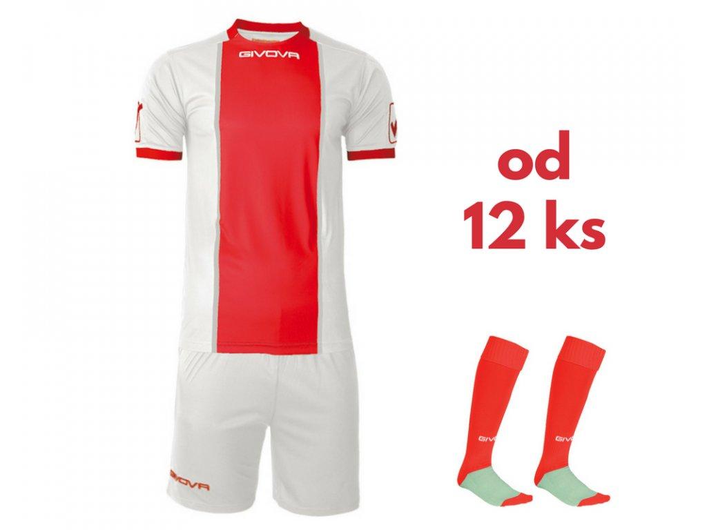 Futbalová sada Givova Paris pre celé mužstvo, od 12 ks, biela / červená