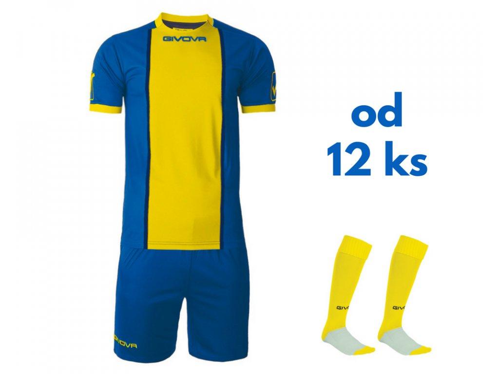 Futbalová sada Givova Paris pre celé mužstvo, od 12 ks, kráľovsky modrá / žltá
