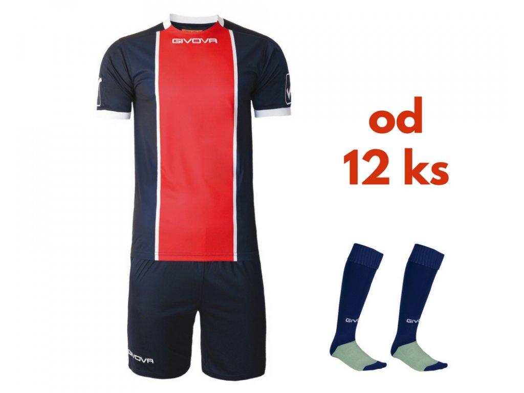 Futbalová sada Givova Paris pre celé mužstvo, od 12 ks, tmavo modrá / červená