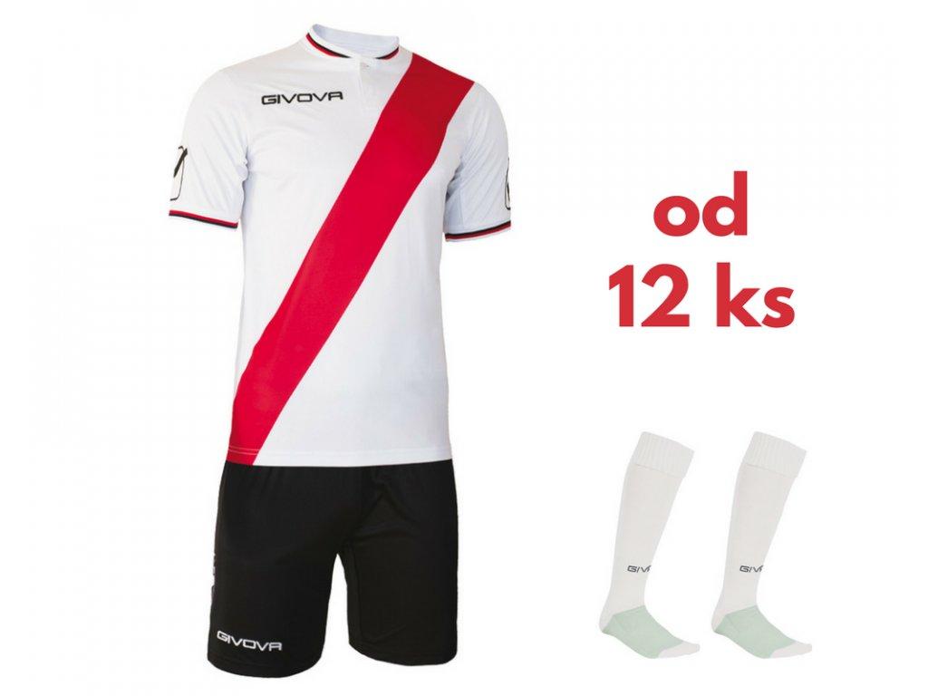 Futbalová sada Givova Plate pre celé mužstvo, od 12 ks, biela / červená